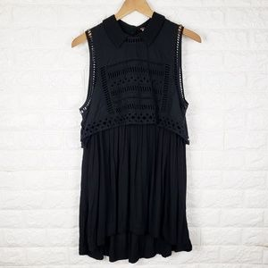 Free People Black Eyelet Mini Swing Dress Size L